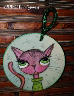 Pink Kitty in Christmas Sweater Ornament