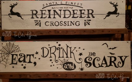 Two-sided Sign, Halloween & Christmas