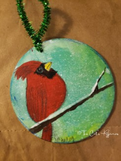 Cardinal on green ornament