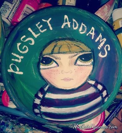 Pugsley Addams painted bowl