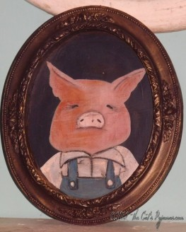 Three Little Pigs Folk Art Fairytale Portrait in oval Frame OOAK Pig in Overalls