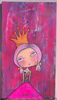 Huge Fairy Princess Painting Bright Neon colors Girly Folk Pop aRt piece