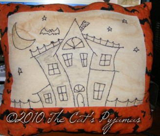 Stitched Haunted House pillow