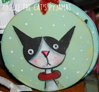 Black and white cat ornament