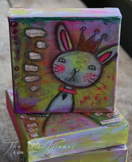 Whimsical Bunny Rabbit painting