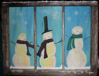 Hand painted Snowmen Scene in Vintage Window
